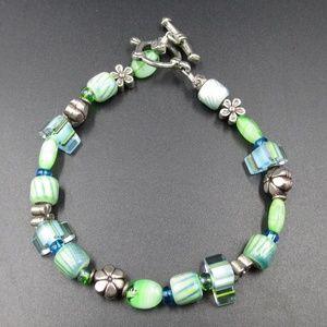 Vintage 8 Inch Green & Blue Glass Bracelet